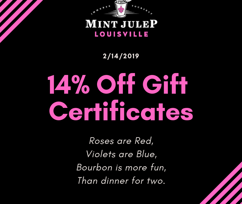 Valentine's Day 2019: Mint Julep Experiences Gift Certificates Are 14% Off For A Limited Time